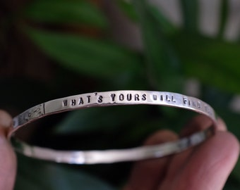 Eco sterling silver personalised affirmation bangle