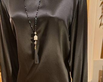 Vintage Black Silk Charmuese Long Sleeve Top 10