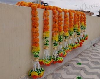 Indian Decoration Artificial Flower Strings Toran Flower Garland Mariegold Artificial Blossom Indian Wedding Decoration Strings Beautiful