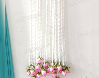 5 Bunches of Indian Flower Garland Rajnigandha Lotus-Lily Decoration Artificial Blossom Indian Wedding Christmas Indianess Strings Gifts