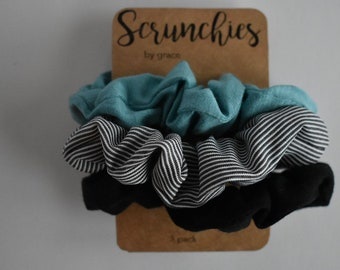 Cool Basics--3 PACK SCRUNCHIES--Scrunchies by Grace--Set of 3--Cute Hair  Accessories 3a4c2539e1f