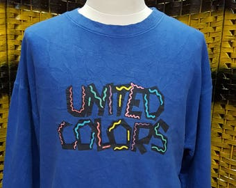 Vintage UNITED COLORS / united colors of benetton / rainbow / big logo spell out / Large size sweatshirt (AK 46)