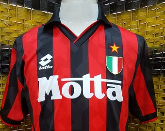 4844db23cddc18 Vintage 90s AC MILAN / Home Jersey / Lotto official supplier / Medium size