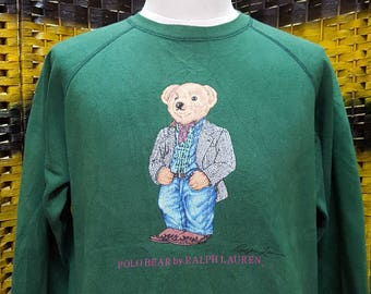 8aecf4599590 Vintage POLO BEAR   Polo Ralph Lauren   Rare colors   Crewneck sweatshirt    Medium size (R033)