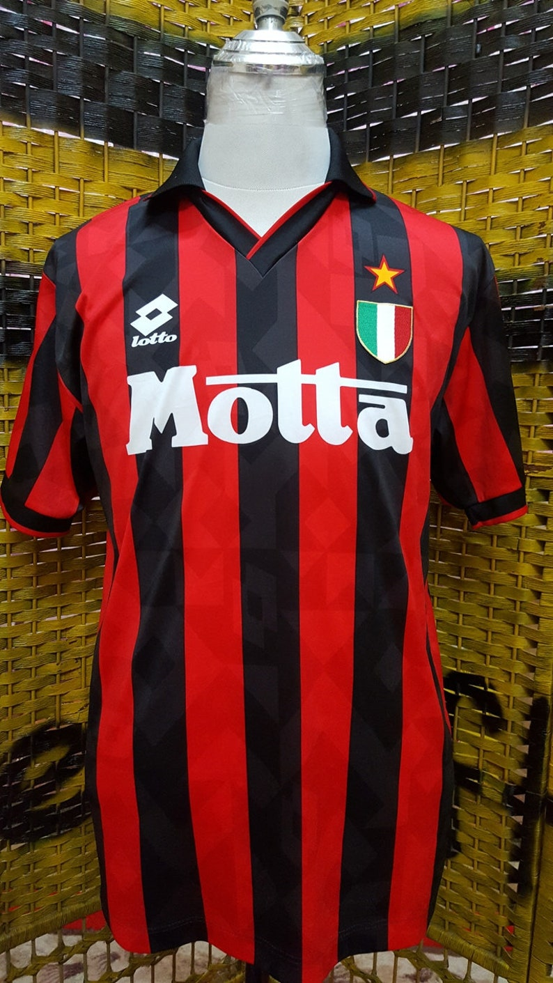 meet 77b55 2ad64 Vintage 90s AC MILAN / Home Jersey / Lotto official supplier / Medium size