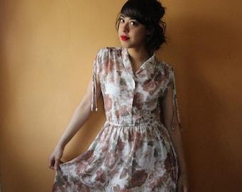 70s delicate flower power dress