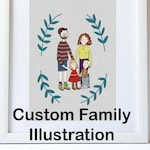 CUSTOM FAMILY PORTRAIT A4 Digital Art Print Friends Loved Ones Customised For You Personalised Picture Couple Pets Wedding Birthday Love