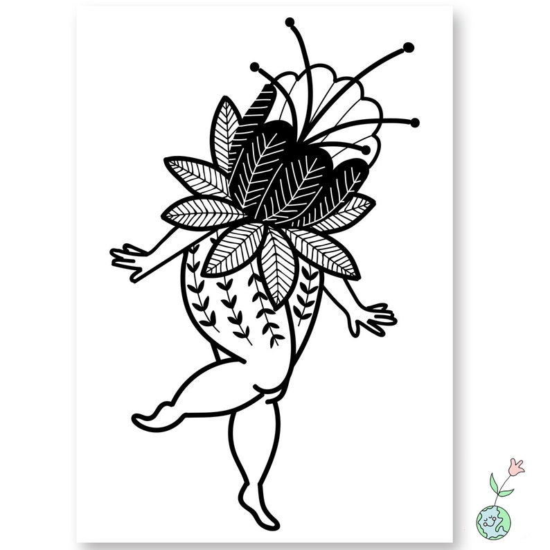 Flowerhead A5 Digital Art Print Flower Bloom Leaves Tattoo