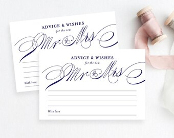 Printable Elegant Wedding Advice Cards, Marriage Advice, Reception Decor, Instant PDF Download