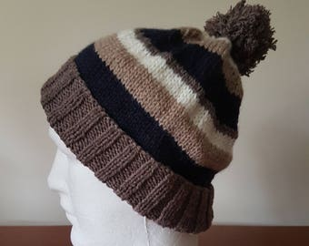 Men's Hand Knitted Beanie - Brown/blue