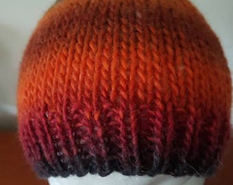 Men's Hand Knitted Beanie - Orange stripe