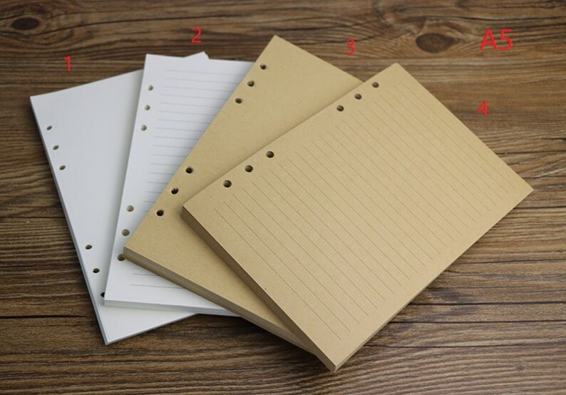 160 pages Refill A5 A6 6 Hole Refill For leather journal planner planner inserts 80 sheets