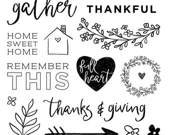 """Close to My Heart  """"Thanks and Giving October - Stamp of the Month"""" Item S1810 Set of 15 images and phrases"""