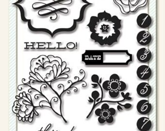 """My Minds Eye - The Sweetest Thing Acrylic Stamps - Tangerine """"hello"""" 21 stamps"""