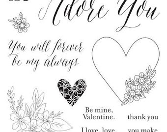 """Close to My Heart  """"Adore You - Stamp of the Month"""" Item S1701 Set of 11 images and phrases"""
