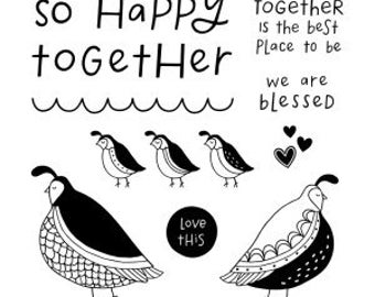 """Close to My Heart  """"Flock Together - Stamp of the Month"""" Item S1704 Set of 11 images and phrases"""