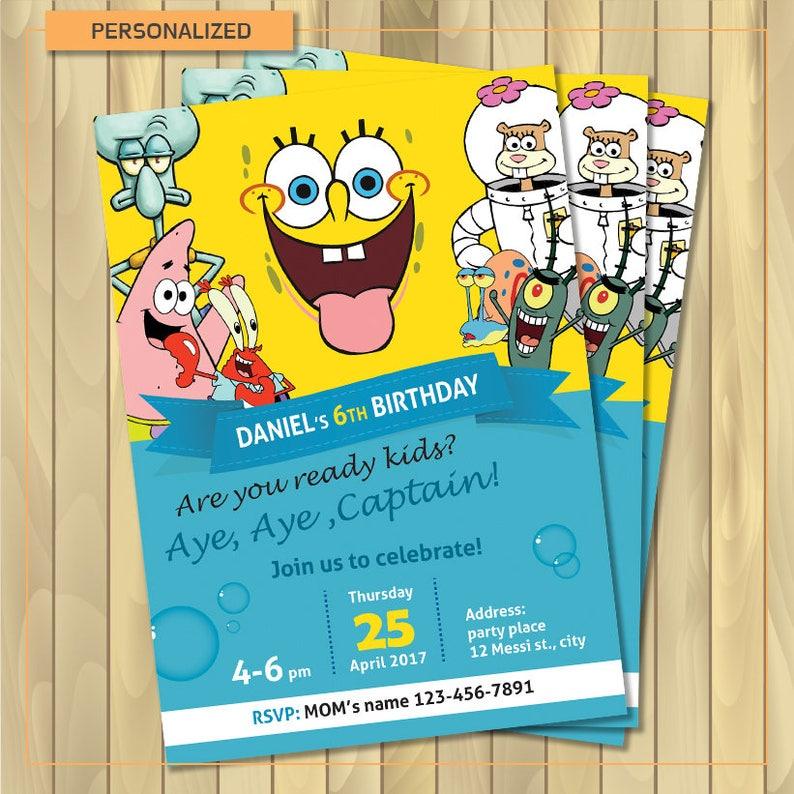SpongeBob Invitations Personalized Birthday