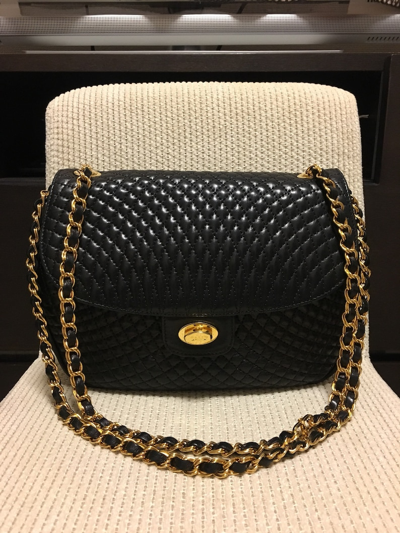 0c2a5d0afc3a Authentic Bally Vintage Quilted Chain Bag