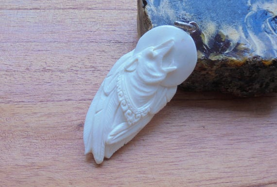 Hand Carved Moon Howling Wolf Bone Pendant Bali Bone Carving Etsy