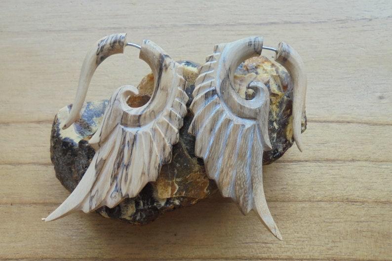 Bali Jewelry TM 02-12 Tamarind Wood Fake Gauge Earrings Wooden Accessories Angel Wings  Earrings