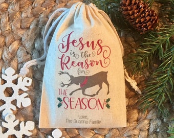 christmas gift bags jesus is the reason for the season christian favors set of 10 item 1696a - Christmas Candy Bags