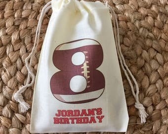 Set of 10 Personalized Football Party Favors - Custom Muslin Cotton Bags (Item 1341A)