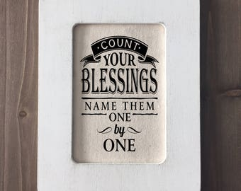 """Framed Christian Verse """"Count Your Blessings, Name them One by One"""" Farmhouse Home Decor (Item 1287B)"""