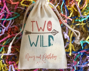 Two Wild Personalized Favor Bags For Second Birthday Set Of 10 Item 1675A