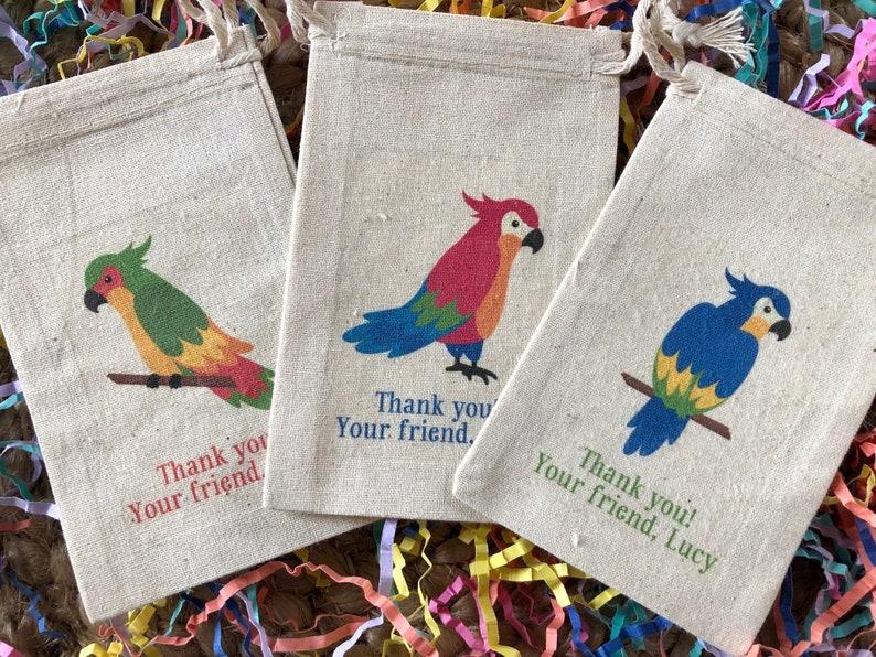 Hawaiian Luau Tropical Bird Party Favor Bags Item 1839A Assorted Parrot Party Favor Set of 10