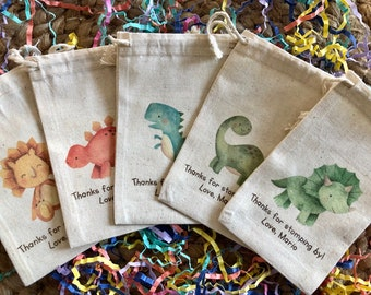 Set of 10 Baby Dinosaur Party Favor Bags - Personalized Favors - Item 1930A