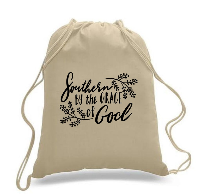 Drawstring Backpack  Southern By The Grace of God Item 1436N
