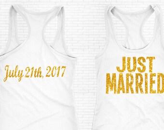 Just Married Shirt, Just Married Tank Top, Bride Tank Top, Bridal Shirt, Just Married Shirt, Honeymoon Shirt, Wedding shirt, Bride Shirt