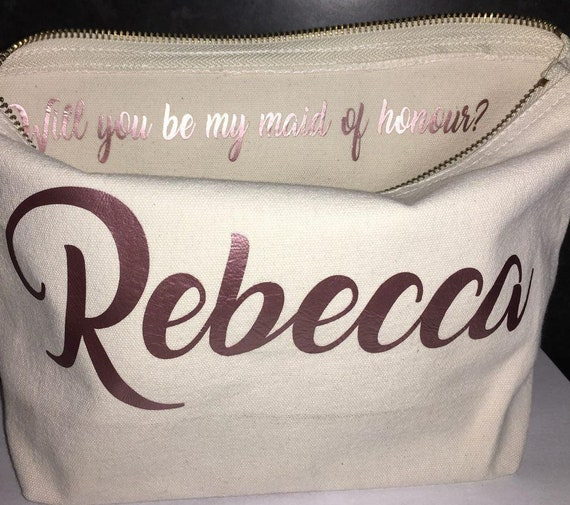 Personalised Bridesmaid Gift Make Up Bag, Maid of Honour Gift , Unique Gift for Bridal Party, Makeup Cosmetic Bags, Personalised Make Up