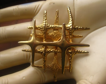 Atomic Style Space Age Four Point Stars brooch Pin Gold Tone