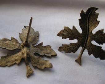 Tack Pins, Oak Leaves, Soft Metal, Long Thick Pins, Artisan Made
