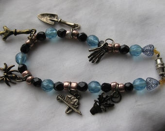 handmade gardening theme charm bracelet