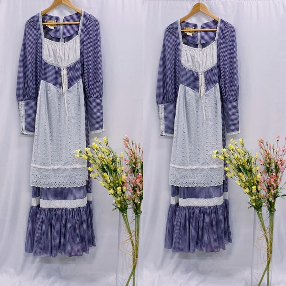 Vintage 70s Gunne Sax prairie maxi dress gingham a