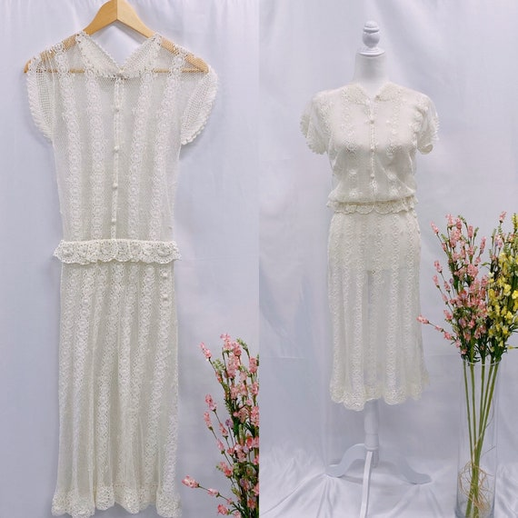 Vintage 70s crochet floral midis dress