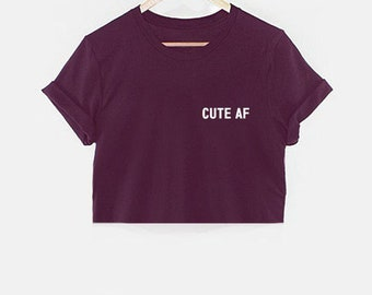 19b163943cb171 CUTE AF pocket crop top croped t-shirt shirt tee unisex womens slogan cute  but psycho funny gift 100% cotton tumblr pinterest instagram