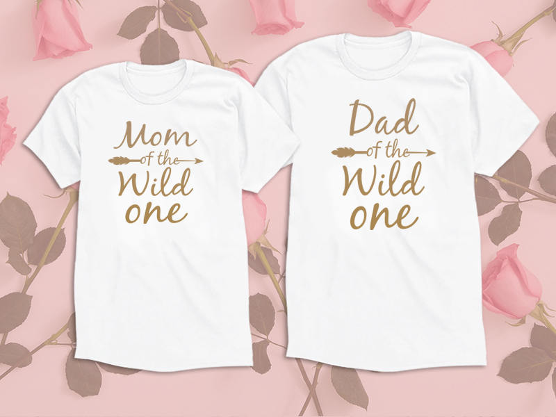 f81250b7 Mom Dad of the wild one. Gold Edition Set of 2 Shirts. Papa Shirt. Matching Shirts  mommy Daddy shirts. Family Tees. UNISEX