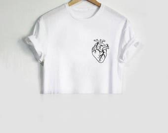 Anatomical Heart Pocket Crop Top Shirt Tee T-shirt Fashion Blogger  Tumblr, Instagram, Grunge Cute Love Real.