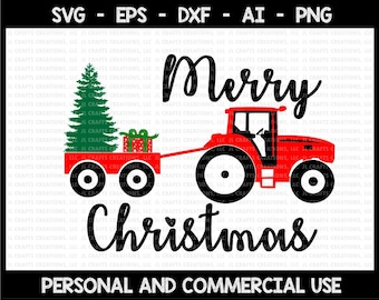 Merry Christmas svg, tractor svg, cristmas tractor svg, christmas svg, svg files for cricut, svg, svg design, svg file, svg cut file, cricut