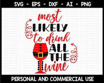 Most likely to drink all the wine svg, cute svg, christmas svg, svg files for cricut, svg, svg design, svg file, svg cut file, cricut