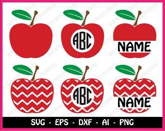 Chevron Apple SVG, Apple SVG, Apple Split Monogram SVG, Svg Files, Cricut Cut Files, Silhouette Cut Files, Teacher Monogram Svg