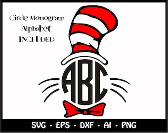 SALE!, Cat in the hat SVG, Cat in the Hat Files, Dr. Seuss Files, Cut Files Cricut, Silhouette, Printable Decal, Dr. Seuss Svg, Clipart