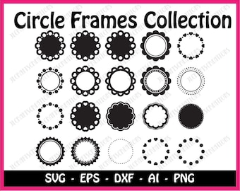 Circle Monogram SVG DXF cut files Polkadot Frames svg cuttable Scalloped Round border svg Cricut dotted frame svg pdf eps jpg png Silhouette