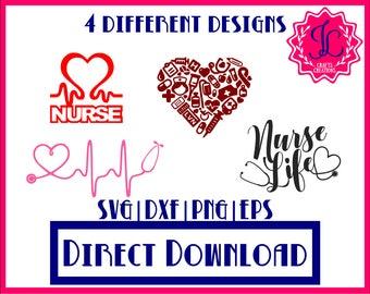 Heart Monogram Stethoscope SVG, Stethoscope SVG, Heart Stethoscope SVG, Nurse Svg, Pharmacist Svg, dxf, png vector cut file, Nurse Life