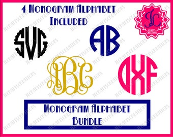 SALE! Monogram Svg, Interlocking Monogram, Vine Monogram Font, Circle Monogram Alphabet, Scalloped Monogram SVG, svg files for cricut
