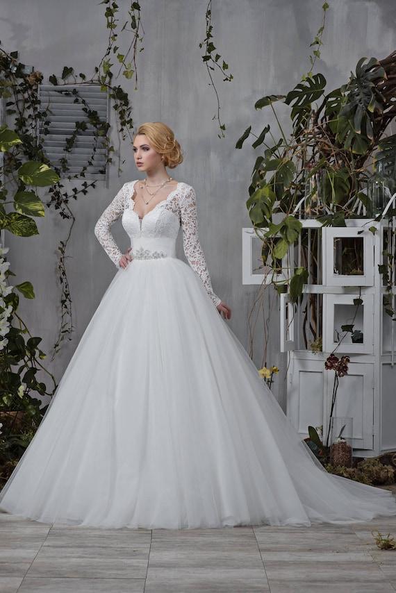 Wedding dress Princess Sorrowful lace long sleeve Beadwork | Etsy