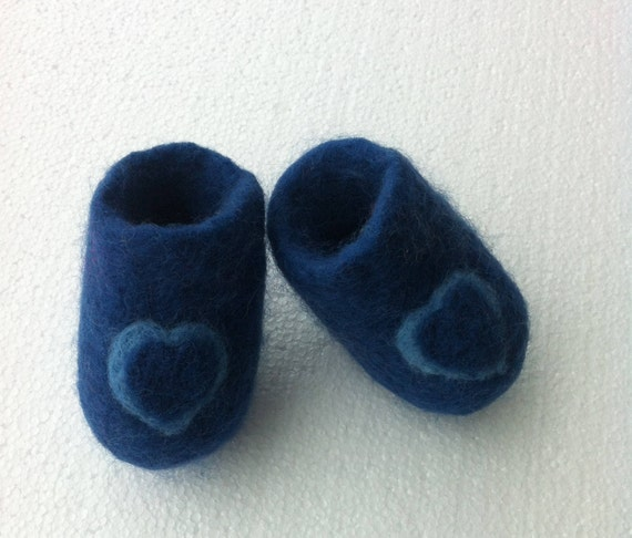 0c56c22c1c251 Baby's blue booties, wool felted boots, two tone heart, teddy bear sole,  Preemie - 9 months, newborn, gender reveal, baby shower gift.